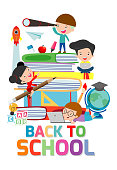 back to school,cute kids reading book, children with books, Happy Children while Reading Books, Vector Illustration on white background.education concept