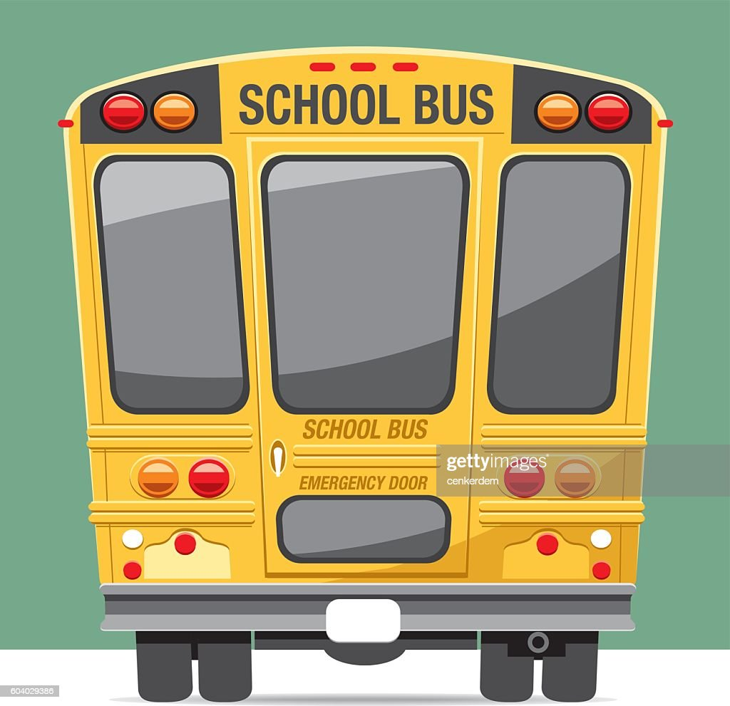 Back view school bus
