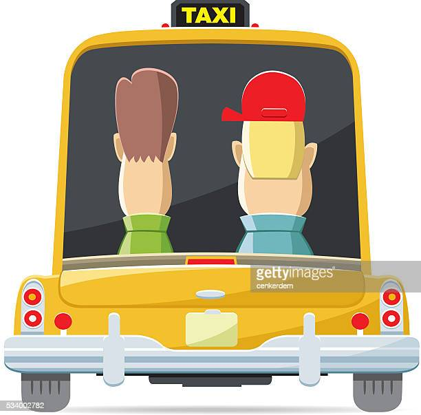 back view taxi - yellow taxi stock illustrations, clip art, cartoons, & icons