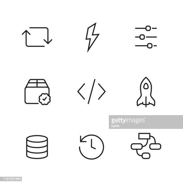 back-end - pixel perfect outline icons - validation stock illustrations, clip art, cartoons, & icons