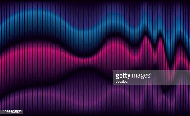 illustrazioni stock, clip art, cartoni animati e icone di tendenza di sfondo onde cromatiche astratte - scuotere