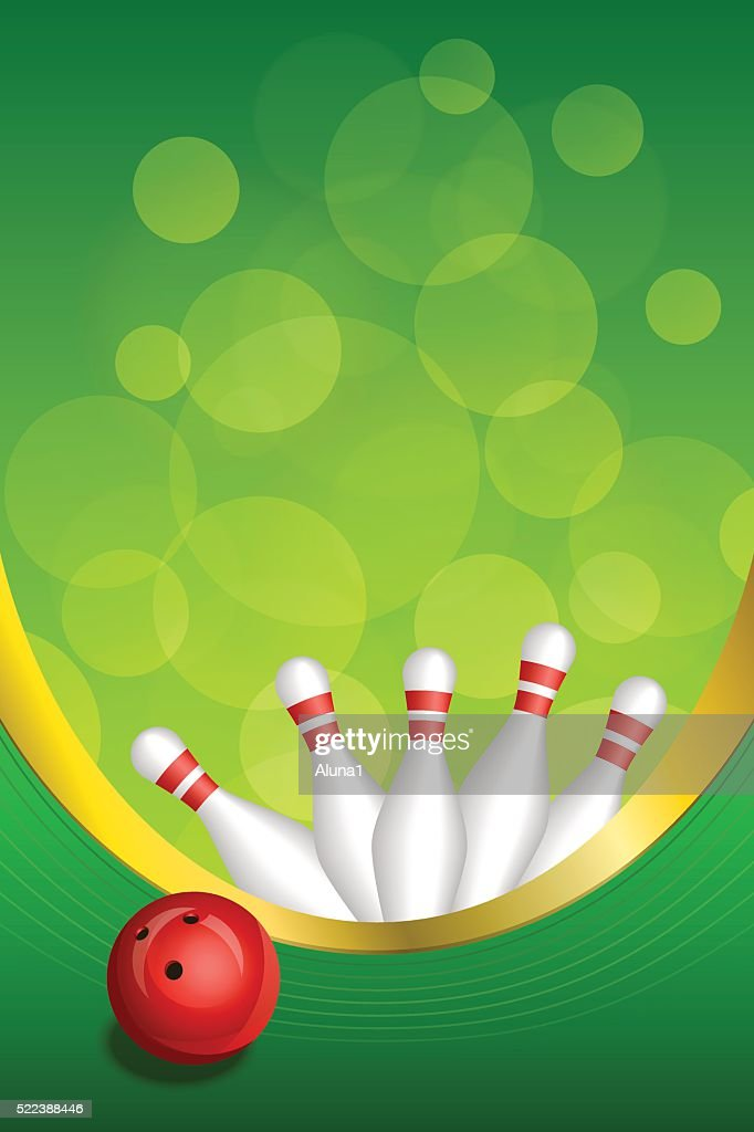 Background Abstract Green Bowling Red Ball Frame Vertical Gold ...