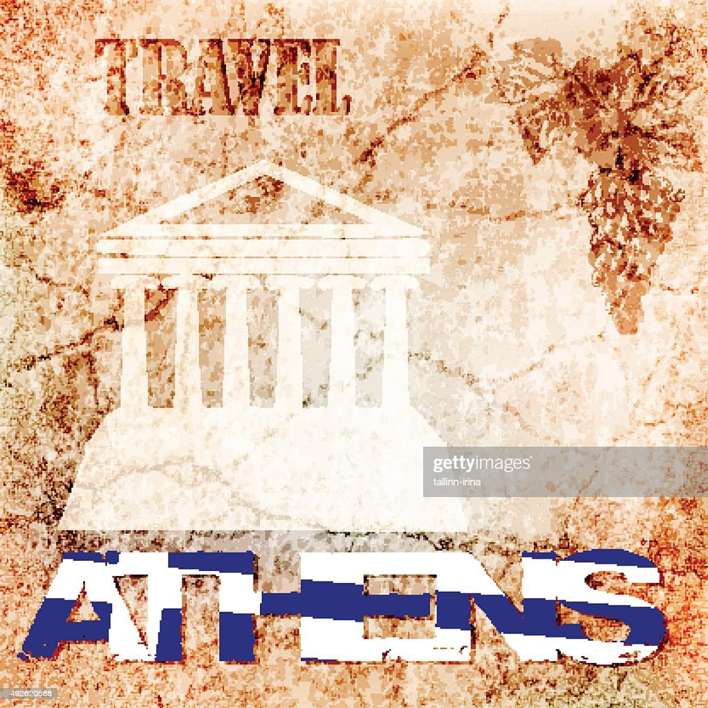 background ancient wall, travel to Athens. vector illustration