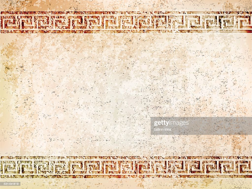 background antique wall with greek ornament meander.vector illustration