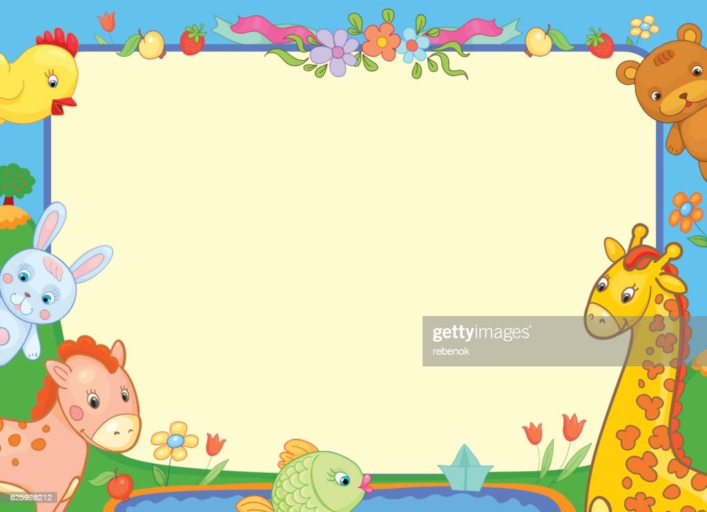 background banner with animals for kids, funny illustration flowers