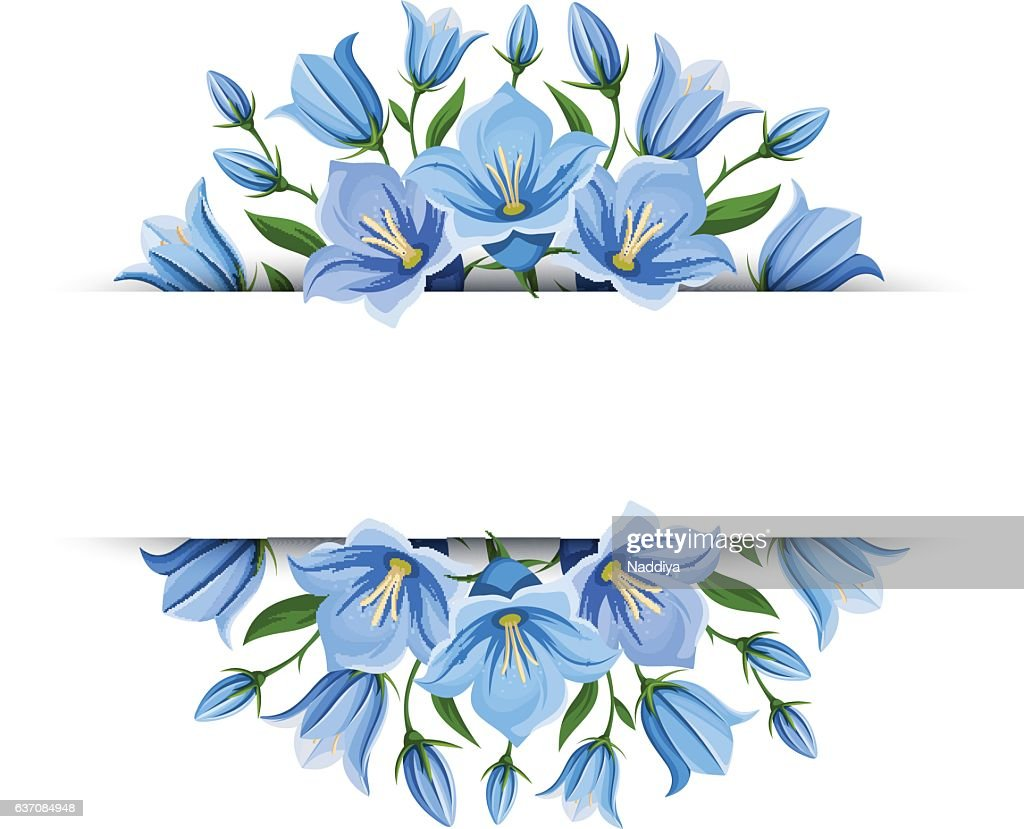 Background banner with bluebell flowers. Vector illustration.