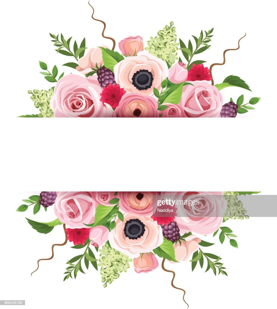 Background banner with colorful flowers. Vector illustration.