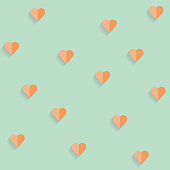 Background by many hearts vector icon, Orange heart on the green background