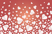 Background by many hearts vector icon, White heart on the red background