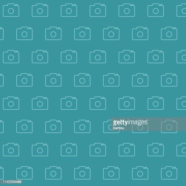 background camera seamless pattern - webcam media apparaat stock illustrations