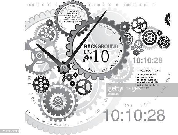 ilustrações de stock, clip art, desenhos animados e ícones de fundo mecanismo de relógio - ver a hora
