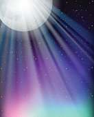 Background design with fullmoon and stars