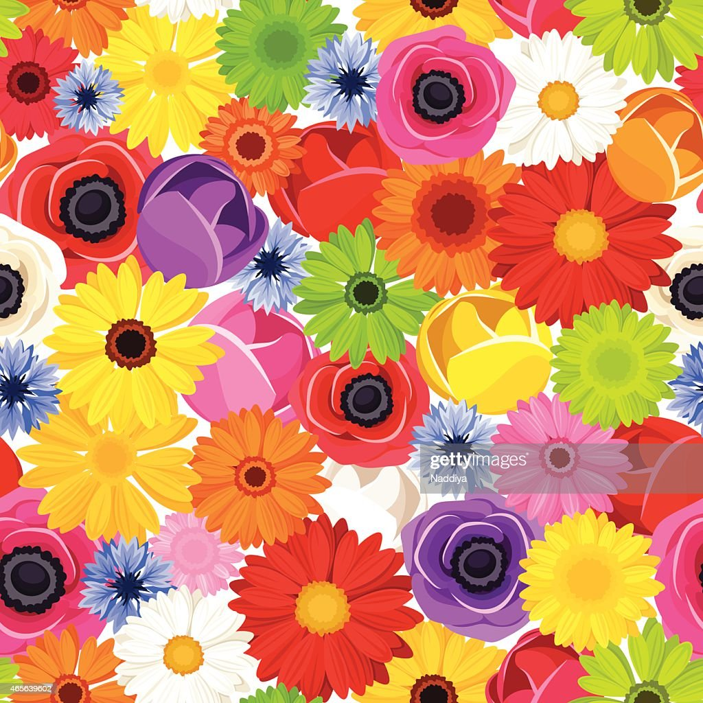 Background filled with multi-colored flowers