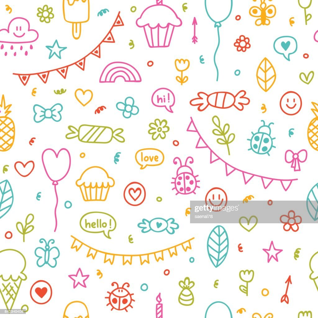Background for cute little boys and girls. Hand drawn children drawings color seamless pattern. Doodle children drawings. Sketch