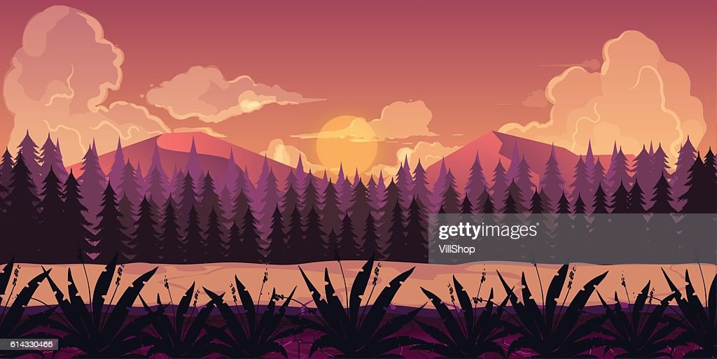 Background for games apps or mobile development. Cartoon nature landscape