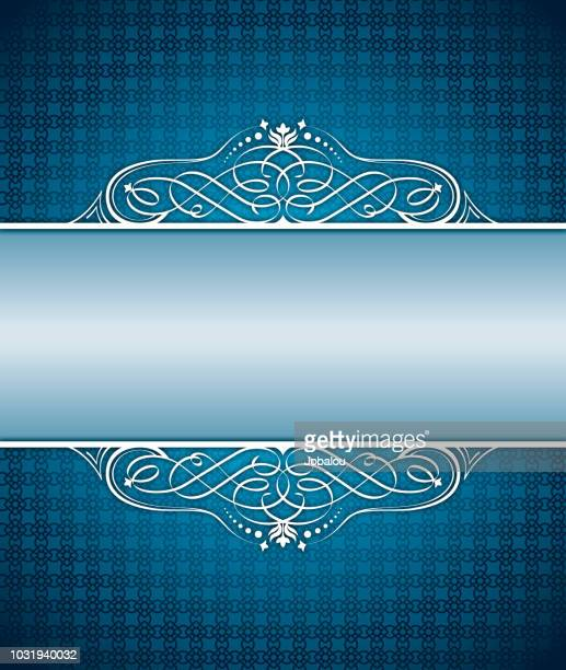 background frame blue arabesc - filigree stock illustrations