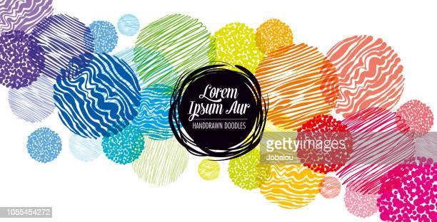 ilustrações, clipart, desenhos animados e ícones de fundo mão desenhada rabiscos coloridos - funky