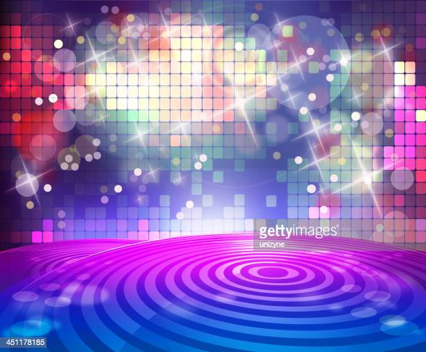 Background illustration of disco stage and lights