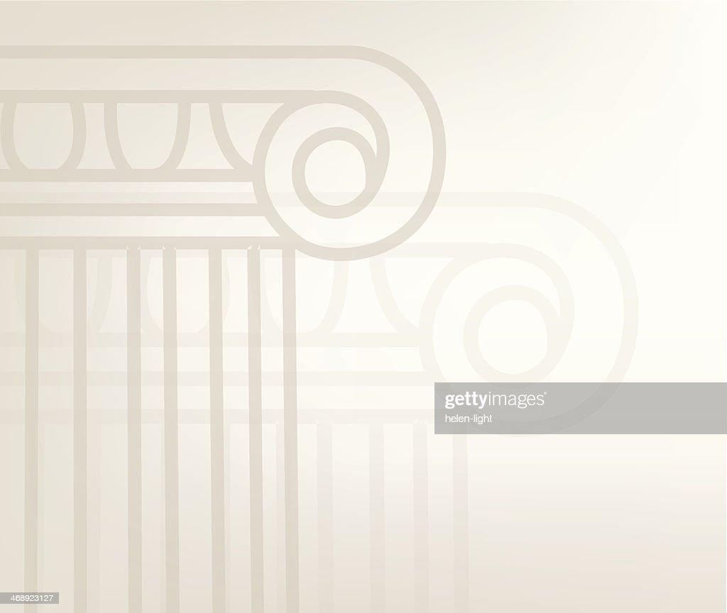 Background illustration of outlined Greek columns