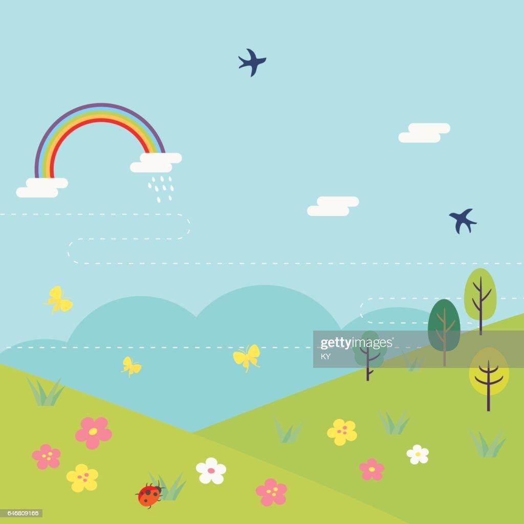 Background illustration of Spring fields