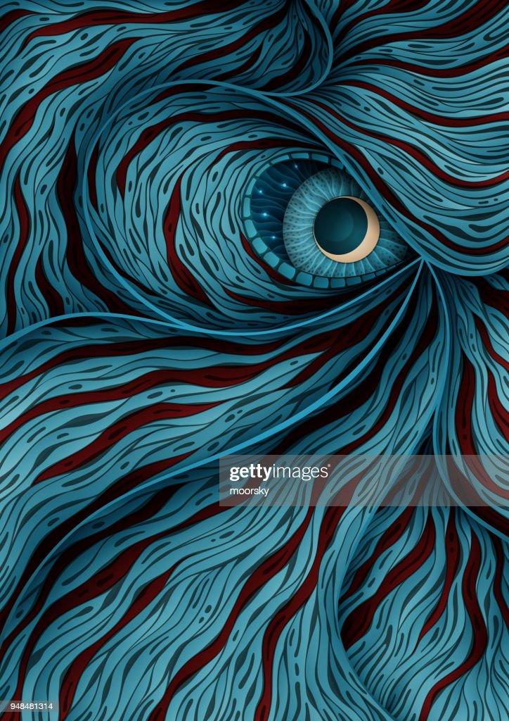 Background illustration with mystic monster eye : stock illustration