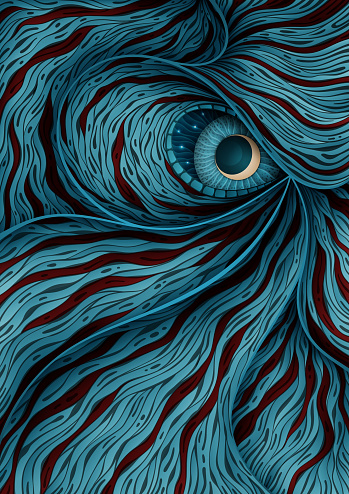 Background illustration with mystic monster eye - gettyimageskorea