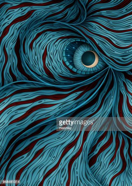 background illustration with mystic monster eye - spirituality stock illustrations, clip art, cartoons, & icons