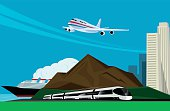 background image with train, plane and cruise ship