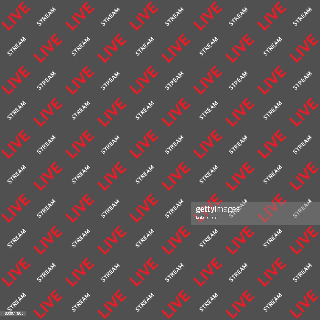 Background Live stream word text angle vector seamless pattern for video blog substitution Chromakey seamless background for television Live stream vlog