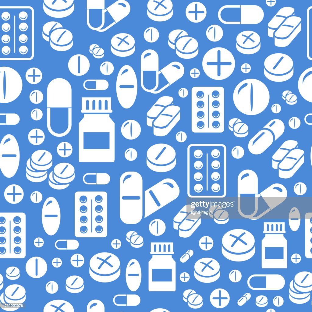 Background made from pills and capsules  seamless pattern. Vector Illustration
