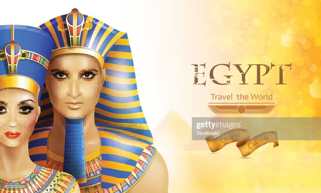 Background Nefertiti and Tutankhamen.