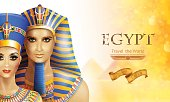 Background Nefertiti and Tutankhamen.
