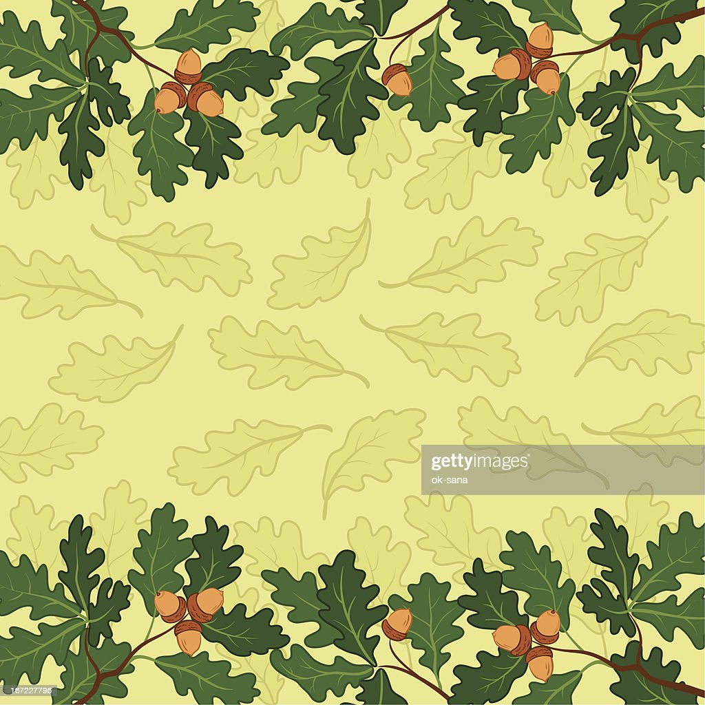 Background, oak branch and leaves