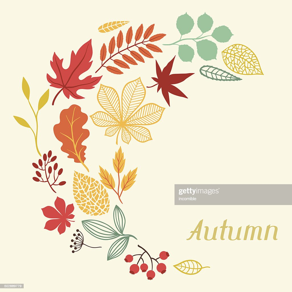 Background Of Autumn Leaves In Shape For Greeting Cards Vector Art