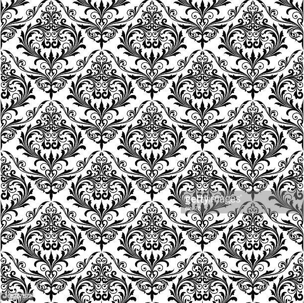 background of black seamless patterns - victorian wallpaper stock illustrations