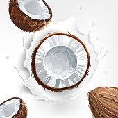 Background of coconut milk with a splash. Delicious coconut yogurt