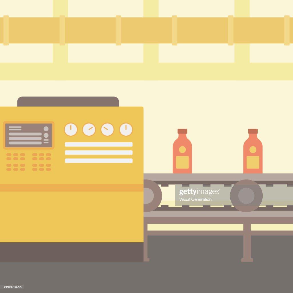 Background of conveyor belt with bottles