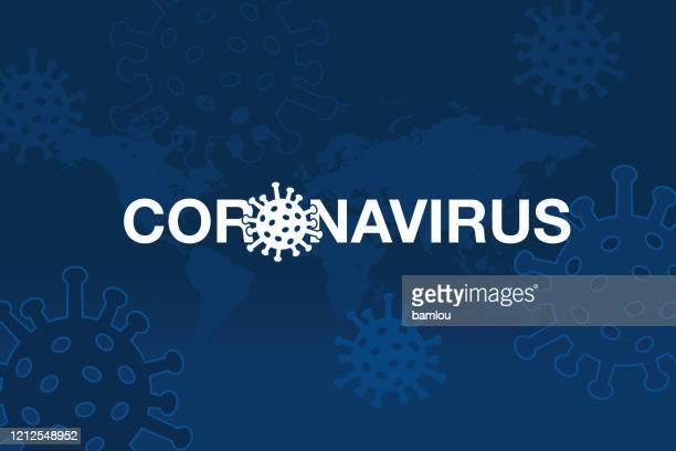 世界地図付きコロナウイルスの背景 - covid 19点のイラスト素材/クリップアート素材/マンガ素材/アイコン素材