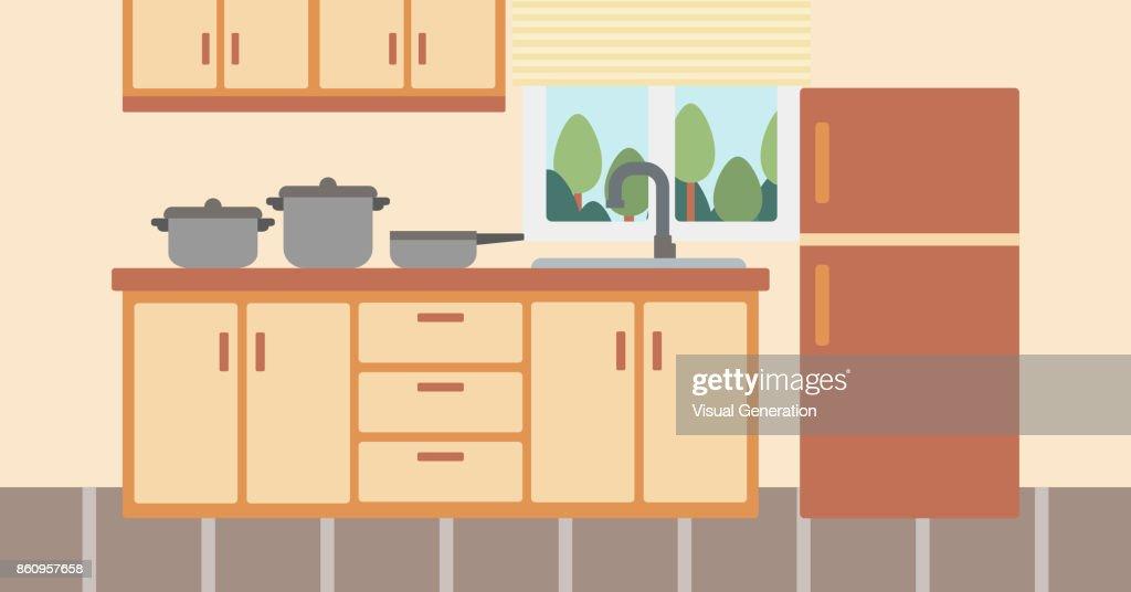 Background of kitchen with kitchenware