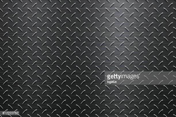 background of metal diamond plate in black color - sheet metal stock illustrations, clip art, cartoons, & icons