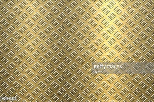 background of metal diamond plate in gold color - sheet metal stock illustrations, clip art, cartoons, & icons