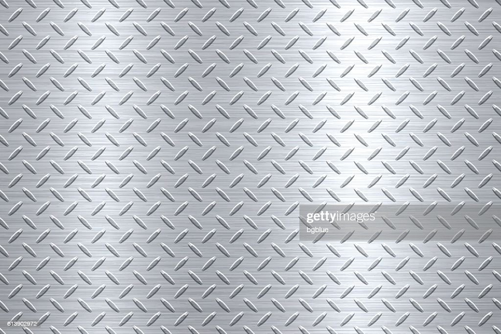 Background of Metal Diamond Plate in Silver Color : Stock-Illustration