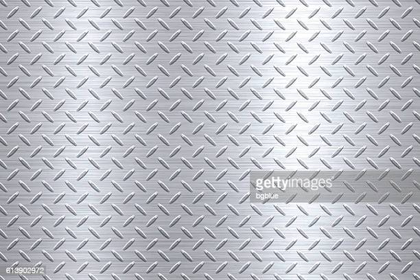 background of metal diamond plate in silver color - metal stock illustrations