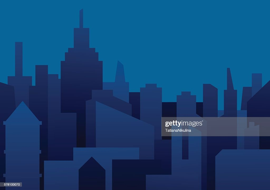Background of night city in dark blue tones