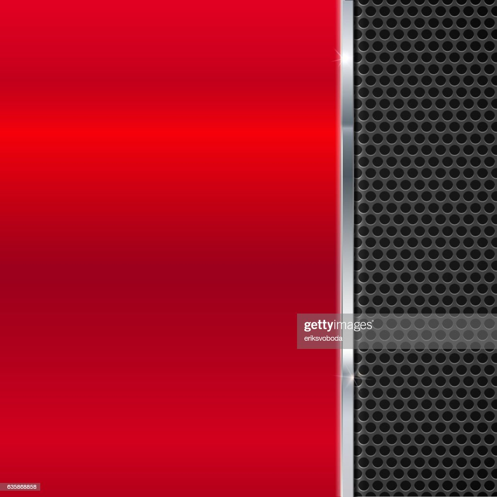 Background of polished red metal and black mesh with strip.