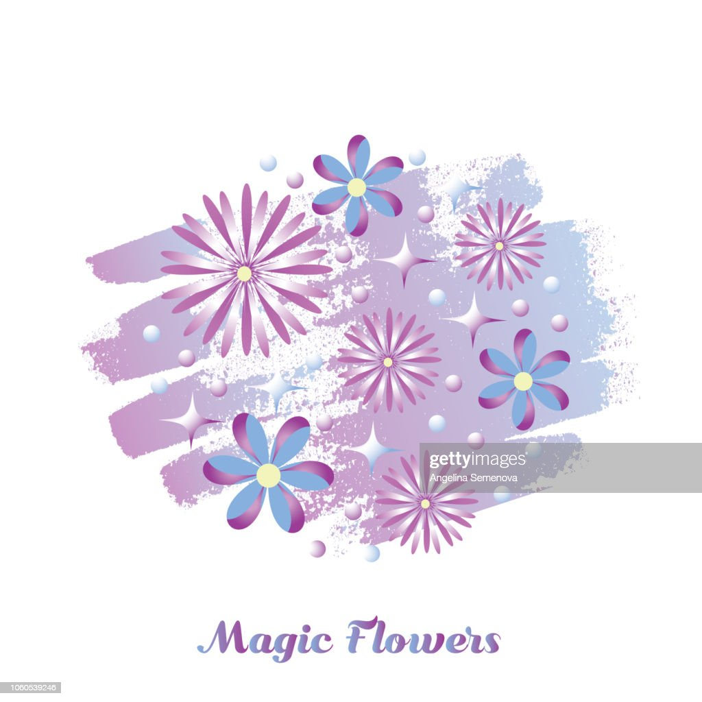Background of purple fantasy flowers. Vector illustration.