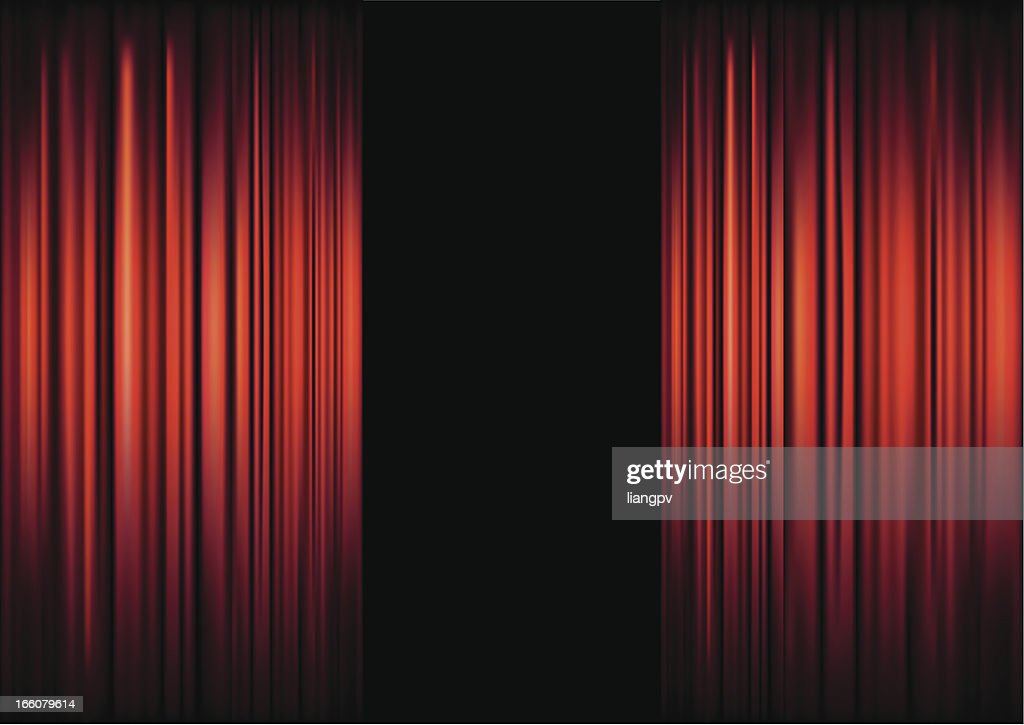 background of red theater curtains framing black vector art getty