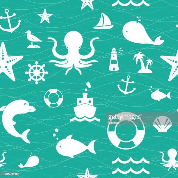 ilustrações, clipart, desenhos animados e ícones de fundo do mar vida padrão sem emenda - organismo aquático