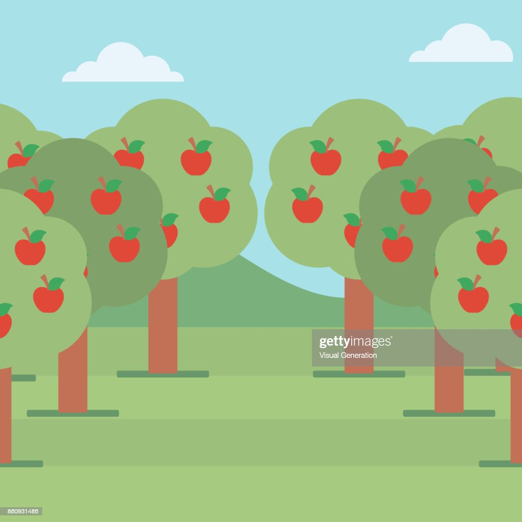 Background of  trees with red apple