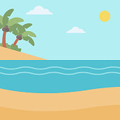 Background of tropical beach and sea